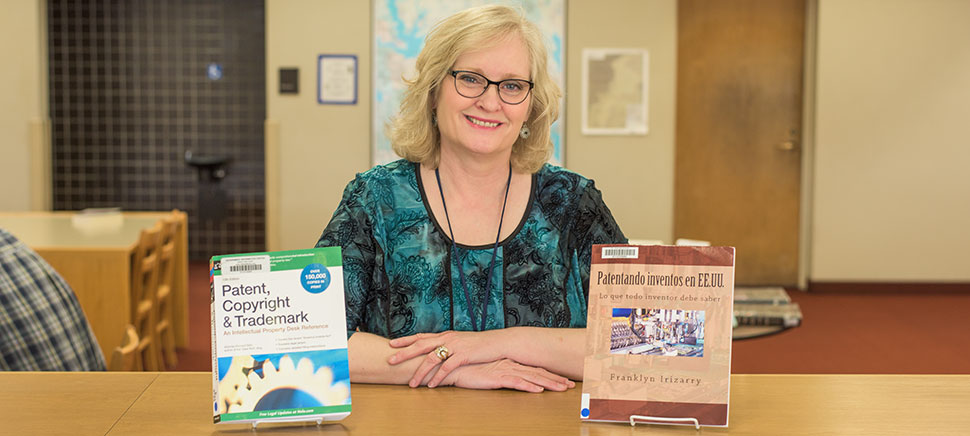 Kathy Berry is the designated patent and trademark specialist at the Dallas Public Library. Photo by Michael Samples.