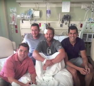 The ReKall team with Kevin in the hospital.