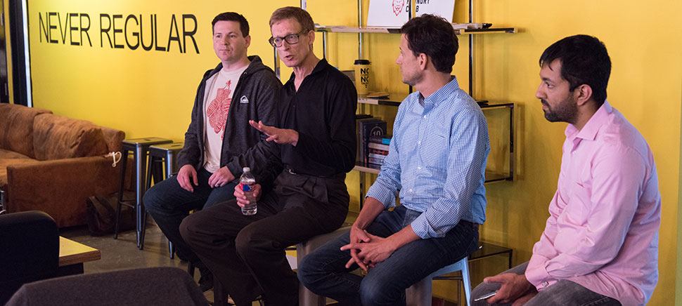 """The Dallas Startup Week panel, """"Improving Your Commute with IOT,"""" held at Kowork in Downtown Dallas. Photo by Michael Samples"""