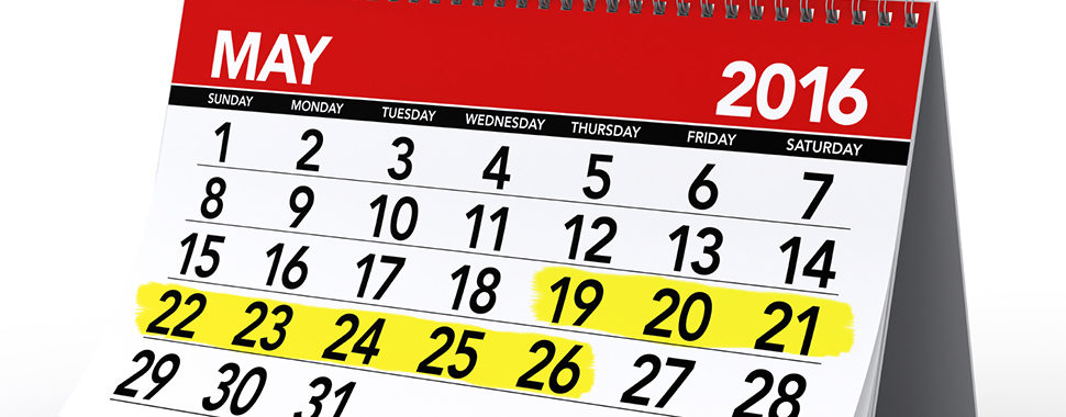 May 2016 Calendar. Isolated on White Background. 3D Rendering