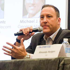 Michael J. Zeto talks with the Smart Cities – from Apps to Infrastructure panel about advancements in technology. Photo by Hannah Ridings.