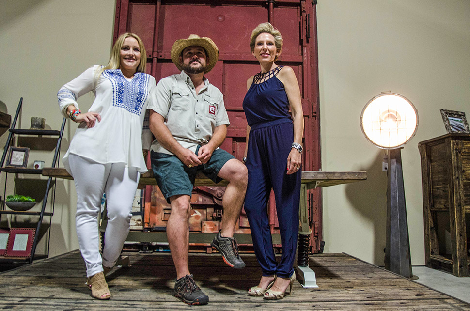 Aspen Van Amburgh, Ryan Richardson and Delisea Carter in their Frisco Boxcar shop. [ Photo by Hannah Ridings ]