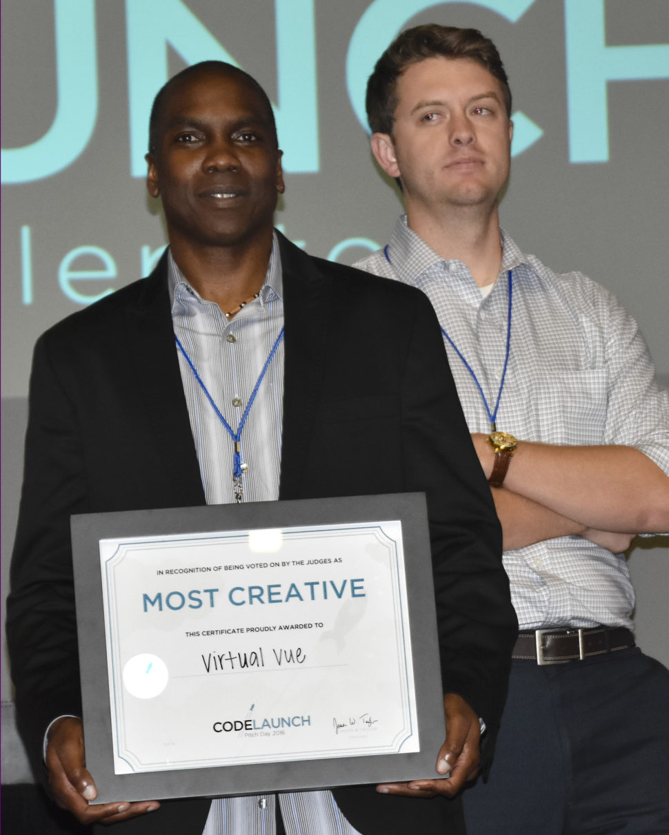 Most Creative went to Eric Fooks of VirtualVue. [Photo: Dallas Innovates ]