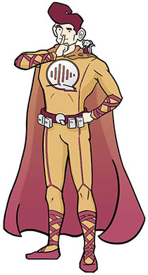 The company has its own superhero, Quietman, pictured here. And the other shows the Noise Aware team.