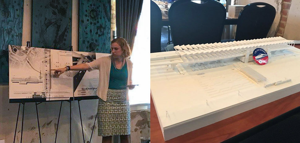 Julia Green, a UTA architecture graduate student, presents her concept for a Dallas high-speed train station (right). She won the statewide design competition. [Photo: UTA]