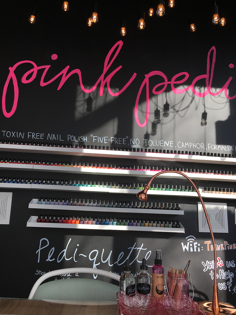 Pink Pedi is the first nail salon in Dallas to exclusively carry the entire nail polish lines of OPI's Infinite Shine hybrid polish collection and Zoya, a polish line free of all cancer-causing chemicals commonly found in nail polish.