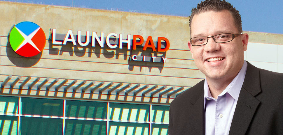 Brian Dick and the Launchpad headquarters in Addison