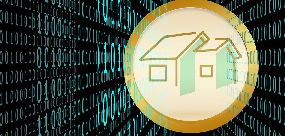 Bitcoin blockchain housing development illustration