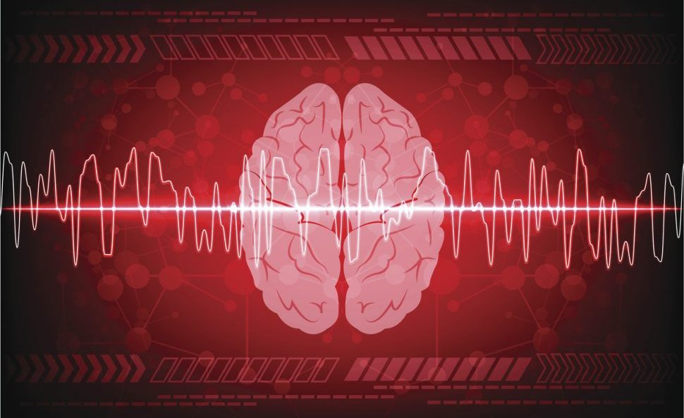 Abstract brain wave concept on blue background technology.